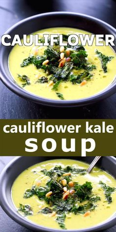 Cauliflower Kale Soup Roasted cauliflower kale soup with kale chips and pine nuts topping. Rich, creamy (no cream) and delicious, this soup is full of wonderful flavor. Best Soup Recipes, Healthy Soup Recipes, Vegetarian Recipes, Cooking Recipes, Keto Recipes, Recipes With Kale, Blended Soup Recipes, Cooking Kale, Paleo Soup