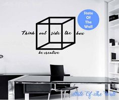 Think outside the box wall Decal design Mural interior design Science Education Art educational vinyl  education school nerd geek Geometric by StateOfTheWall on Etsy https://www.etsy.com/listing/224769155/think-outside-the-box-wall-decal-design