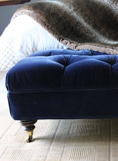 is that a song? the ottoman, and well, maybe the song. Azul Royal, Royal Blue, Velvet Footstool, Blue Ottoman, Tufted Bench, Tufted Ottoman, French Country Living Room, Cute Home Decor, Home Additions