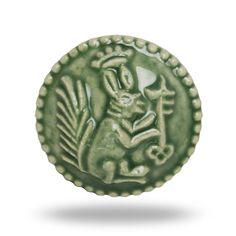 round ceramic decorative door knob with squirrel design green classic vintage furniture knob or drawer