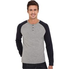 United By Blue Ludlow Henley (Gray/Navy) Men's Clothing ($35) ❤ liked on Polyvore featuring men's fashion, men's clothing, men's shirts, men's casual shirts, multi, mens long shirts, vintage mens shirts, mens henley shirts, j crew mens shirts and mens casual long sleeve shirts