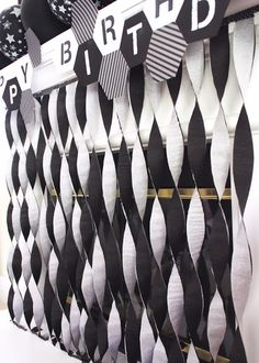 Black and White streamers to make cool contrasted/coordinating color effect for party decor.