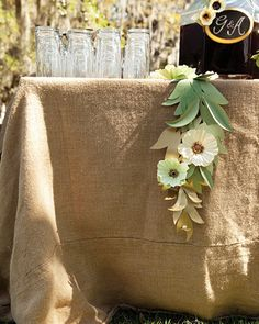 burlap table cloth for beverages