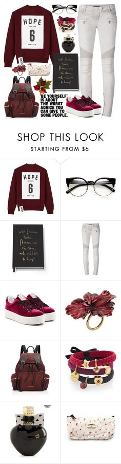 """""""who could not be happy?"""" by delightdandelion ❤ liked on Polyvore featuring Studio Concrete, ZeroUV, Kate Spade, Balmain, Kenzo, Madina Visconti di Modrone, Burberry, Marc Jacobs and Aéropostale"""