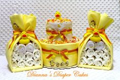 Baby Diaper Cake Rubber Ducks Shower Gifts and Decorations in One