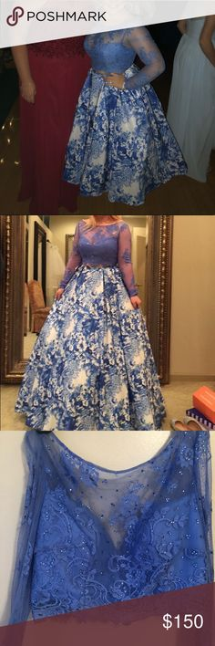 """Two Piece Sherri Hill Prom Dress Gorgeous two piece Sherri Hill prom dress. Long sleeve lace top with blue gems. Covers up to the neck. """"V"""" shaped back. The skirt was altered to fit my height (I'm 5'0). Sherri Hill Dresses Prom"""