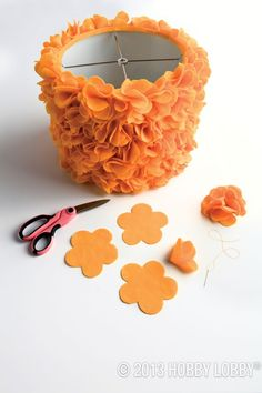 a cute way to customize a boring white drum shade: add fabric flowers for t. -What a cute way to customize a boring white drum shade: add fabric flowers for t. Felt Flowers, Diy Flowers, Fabric Flowers, Felt Crafts, Diy And Crafts, Fabric Crafts, Craft Projects, Projects To Try, Lamp Shades