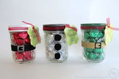 Santa, Snowman, and Elf Kisses Treat Jars. Such a cute idea.