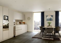 Queen's Park Place development by Londonewcastle with Ian Simpson Architects and interiors by Tamzin Greenhill New Build Developments, New Builds, New Homes, Places, Kitchen, Table, Architects, Furniture, Interiors