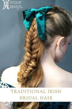 Irish traditional bride hairstyles, knots and braids by AM Style by Design #bridalhair #traditionalhair #braidedhairstyles #irishhair