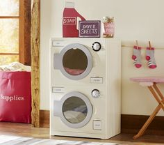 Retro Washer & Dryer | Pottery Barn Kids I'm thinking I might just make something like this out of boxes. Give my kiddos a whole little play house all their own. I really like the soap and dryer sheets above also.