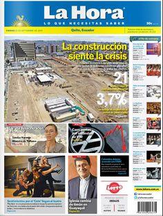 """Acá, nuestra portada de hoy, 25 de septiembre del 2015. Tema destacado:  """" La construcción siente la crisis""""."""