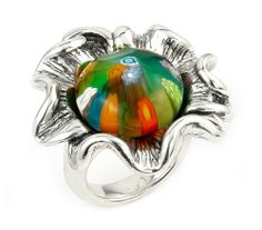 Millefiori Multi Color Faceted Flower Ring With Electroform Silver Frame Millefiori. $55.00