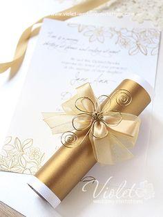 """Flo"" Wedding Invitation, Violet Handmade Wedding Invitations"