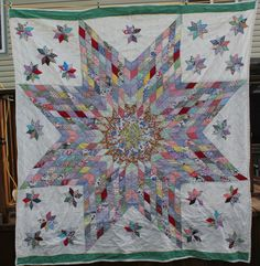 Antique Lone Star Quilt with Satellite Stars | eBay