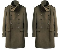 Balmain H&M Mens Green Double Breasted Military Coat – Price £150