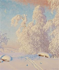 Ski Tracks in Winter Landscape by Gustaf Fjaestad