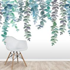 Shop this beautiful Blue & Green Hanging Eucalyptus Wallpaper. FREE UK delivery within 2 to 4 working days. Field Wallpaper, Plant Wallpaper, Flower Wallpaper, Wall Wallpaper, Hotel Bedroom Decor, Watercolor Floral Wallpaper, Mint Paint, Wall Painting Living Room, Flower Mural