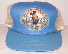 Vintage Disney MICKEY MOUSE Sixty Years With You 1988 Mesh Snapback Blue Hat  Cap Storage 92e3170b4f47