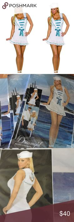 Shore Thing Sandy Sailor Costume Halloween Costume  2 piece set: Dress  Hat Dress was tried on in store. Accessories never opened XS 85-90lbs Small 90-120lbs Medium 120-140lbs Large 140-160lbs  XL 160-180lbs Dreamgirl Dresses Mini