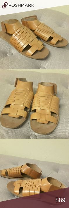 Vince Calista huaraches Size 5. Velcro closure. All leather. Tops of shoes are a bit lighter in color than the sides. Only worn a few times. Vince Shoes Flats & Loafers