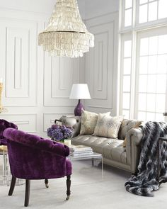 Shop Purple Sausalito Chair from Haute House at Horchow, where you'll find new lower shipping on hundreds of home furnishings and gifts. Living Room Decor Furniture, Purple Furniture, Luxury Living Room, Interior, Purple Living Room, House Interior, Living Room Grey, Interior Design, Haute House