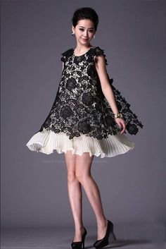 Women's Lace Imitated Silk Dress With Openwork Lace Scoop Neck Refreshing Design (AS THE PICTURE) | Sammydress.com