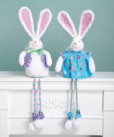 Loving this Dangle Leg Bunny Figurine Set on #zulily! #zulilyfinds