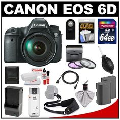 Canon EOS 6D Digital SLR Camera Body with EF 24-105mm L IS USM Lens with 64GB Card + 2 Batteries + Charger + Sling...