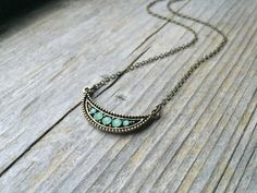 Brass Crescent Pendant Necklace With Green Opal by McHughCreations