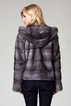 Lilly E Violetta Blue Iris Mink Fur Hooded Jacket