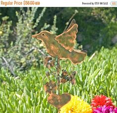 ON SALE Copper Bird Garden Stake / Metal Yard Art / Garden Art / Copper Patina Art / Wildlife Bird Sculpture / Handmade / Outdoor Home Decor