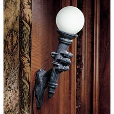 Gothic Home Decor - Medieval & Gothic - Design Toscano Would be cool in a home theatre room! Medieval Dragon, Medieval Gothic, Gothic Steampunk, Wall Sconce Lighting, Wall Sconces, Basement Lighting, Flush Lighting, Exterior Lighting, Bathroom Lighting