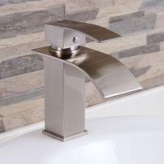Elite 8803BN Brushed Nickel Modern Bathroom Sink Waterfall Faucet