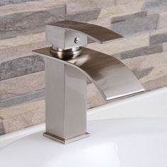 Elite 8803BN Brushed Nickel Modern Bathroom Sink Waterfall Faucet | Overstock.com Shopping - The Best Deals on Bathroom Faucets $88