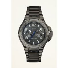 GUESS Gunmetal-Tone Rigor Standout Sport Watch ($150) ❤ liked on Polyvore featuring mens, men's jewelry, men's watches and gold