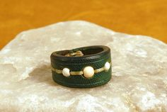 Grus leather ring by EmCouros on Etsy