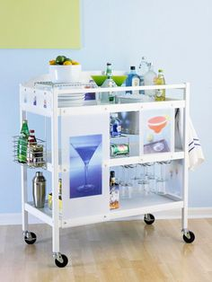 Beverage Cart  What it is: A changing-table is transformed into the ultimate beverage station, perfect for entertaining.  How to make it: Give it a fresh coat of paint. Add wheels to enable you to move the party from room to room and from inside to outdoors. Add plexiglass panels adorned with photo art and attach metal hooks and racks to increase organization.