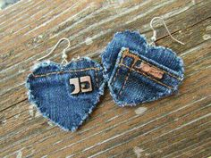 Earring Heart-Shaped Recycled Designer Joes Jeans Brand Denim Upcycled 2019 Upcycled Joe's Jeans Earrings by daringmisslassiter The post Earring Heart-Shaped Recycled Designer Joes Jeans Brand Denim Upcycled 2019 appeared first on Denim Diy. Jean Crafts, Denim Crafts, Jewelry Crafts, Jewelry Art, Handmade Jewelry, Jewellery, Recycle Jeans, Upcycle, Artisanats Denim