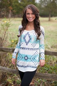 Front view Aztec tunic with side slit curved hem