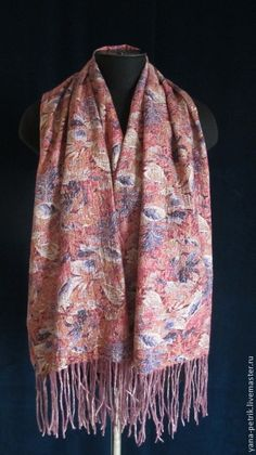 Палянтин ручной работы валяный на шелке Cabrielle - цветочный, шелковый палантин, палантин валяный