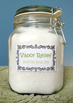 Relief Bath Salts Vapor Relief Bath Salts by FabulousFarmGirl. A must have when you're sick.Vapor Relief Bath Salts by FabulousFarmGirl. A must have when you're sick. Easy Homemade Gifts, Homemade Beauty, Diy Beauty, Homemade Products, Diy Products, Cleaning Products, Beauty Stuff, Beauty Ideas, Diy Gifts