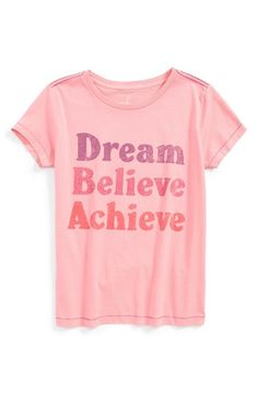 Free shipping and returns on Peek 'Dream Believe Achieve' Pima Cotton Tee (Toddler Girls, Little Girls & Big Girls) at Nordstrom.com. Your little dreamer will love the empowering message of this distressed tee made from supersoft and durable pima cotton.