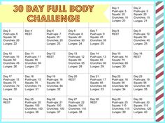 30 Day Full Body Challenge for the New Year!!!! Get Arms, Abs, Back and Legs!