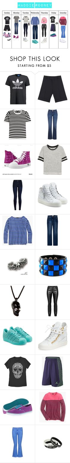 """""""Maddie Rooney (Outfits)"""" by sierra-ivy on Polyvore featuring adidas Originals, DKNY, Levi's, Urban Bliss, Giuseppe Zanotti, J.Crew, Current/Elliott, Wildfox, Vans and STELLA McCARTNEY"""