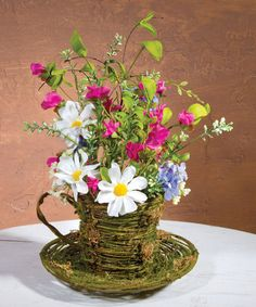 Look at this Mossy Teacup Arrangement by Ohio Wholesale, Inc. Alice In Wonderland Room, Artificial Floral Arrangements, Fantasy Wedding, Glass Vase, Tea Cups, Planter Pots, Wall Decor, Diy Crafts, Invitations