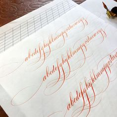 Morning practice with vermillion sumi ❤ . #calligraphy #copperplate #flourish #vermillionsumi #calligraphymasters #goodtype #iampeth #letterworks