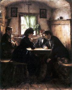 Partie d'échecs, Peinture de Franz von Defregger