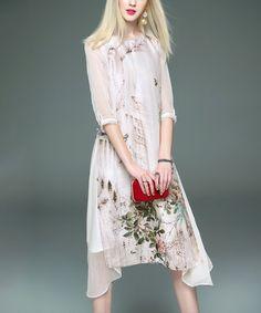 Look at this #zulilyfind! White & Green Leaf Silk-Blend Midi Dress #zulilyfinds
