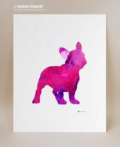 French Bulldog Art Print Purple Kids Wall by ColorWatercolor